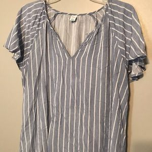 Women's OLD NAVY blue white stripe top Size Large